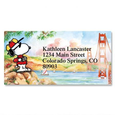 Snoopy™ Around the World Border Address Labels  (8 Designs)