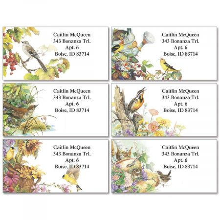 Songbirds Border Address Labels  (6 Designs)