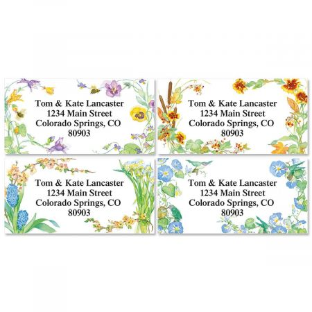 Floral Seasons Border Address Labels  (4 Designs)