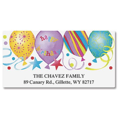 Happy Birthday Balloons Deluxe Address Labels