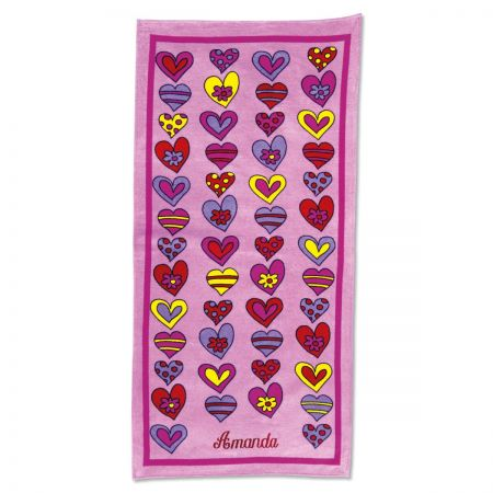 Crazy Hearts Beach Towel