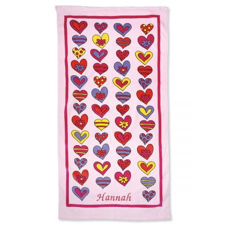 Crazy Hearts Personalized Beach Towel