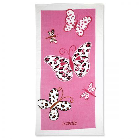 Leopard Butterflies Personalized Beach Towel
