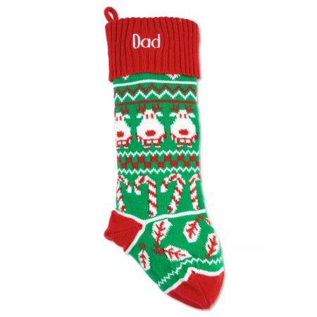 Reindeer Red Argyle Stocking