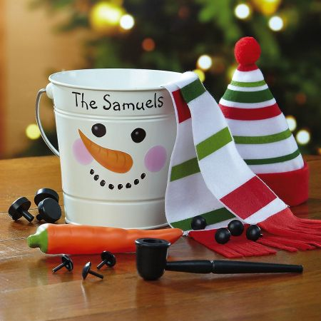Tin Bucket with Snowman Kit