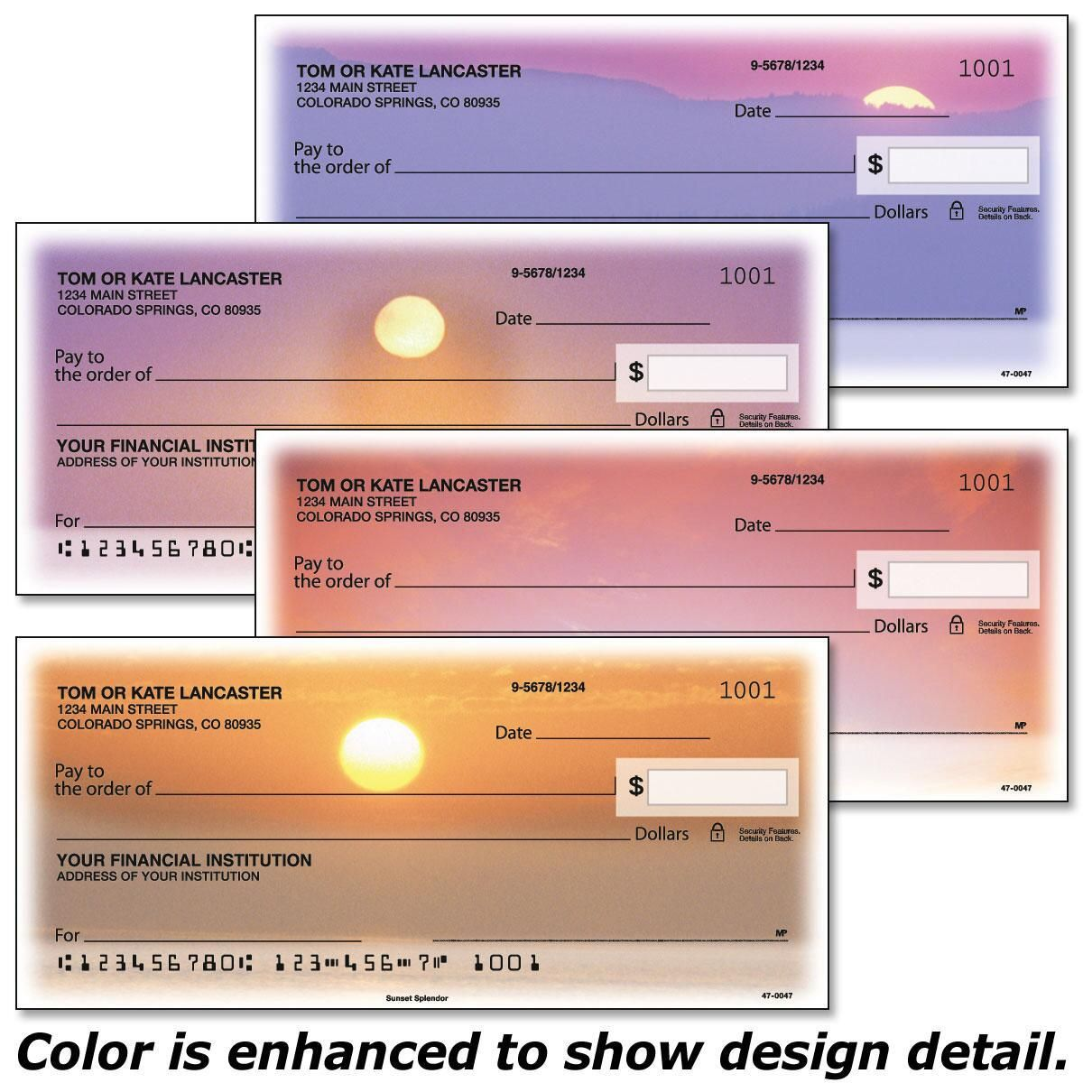 Sunset Splendor Duplicate Checks
