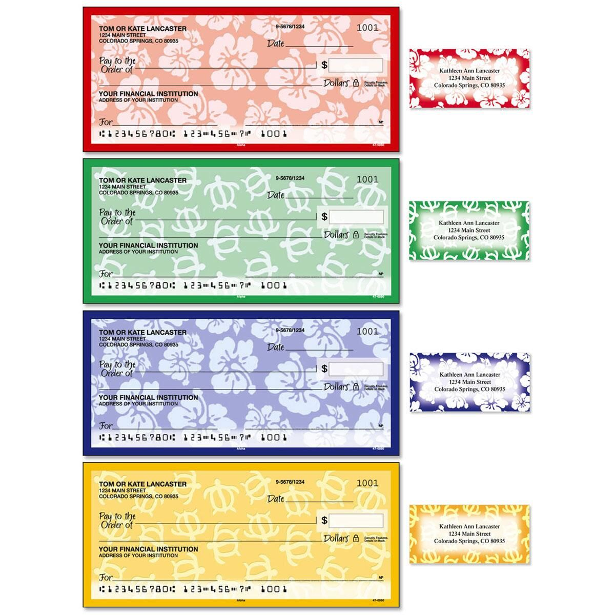 Aloha Single Checks With Matching Address Labels