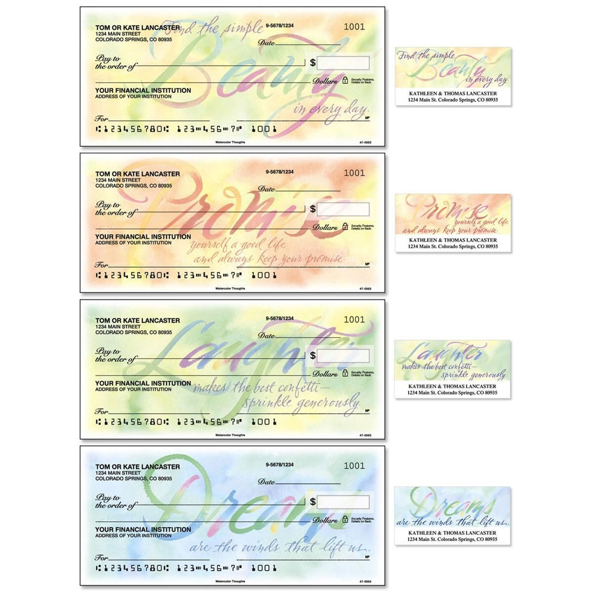 Watercolor Thoughts Duplicate Checks With Matching Address Labels