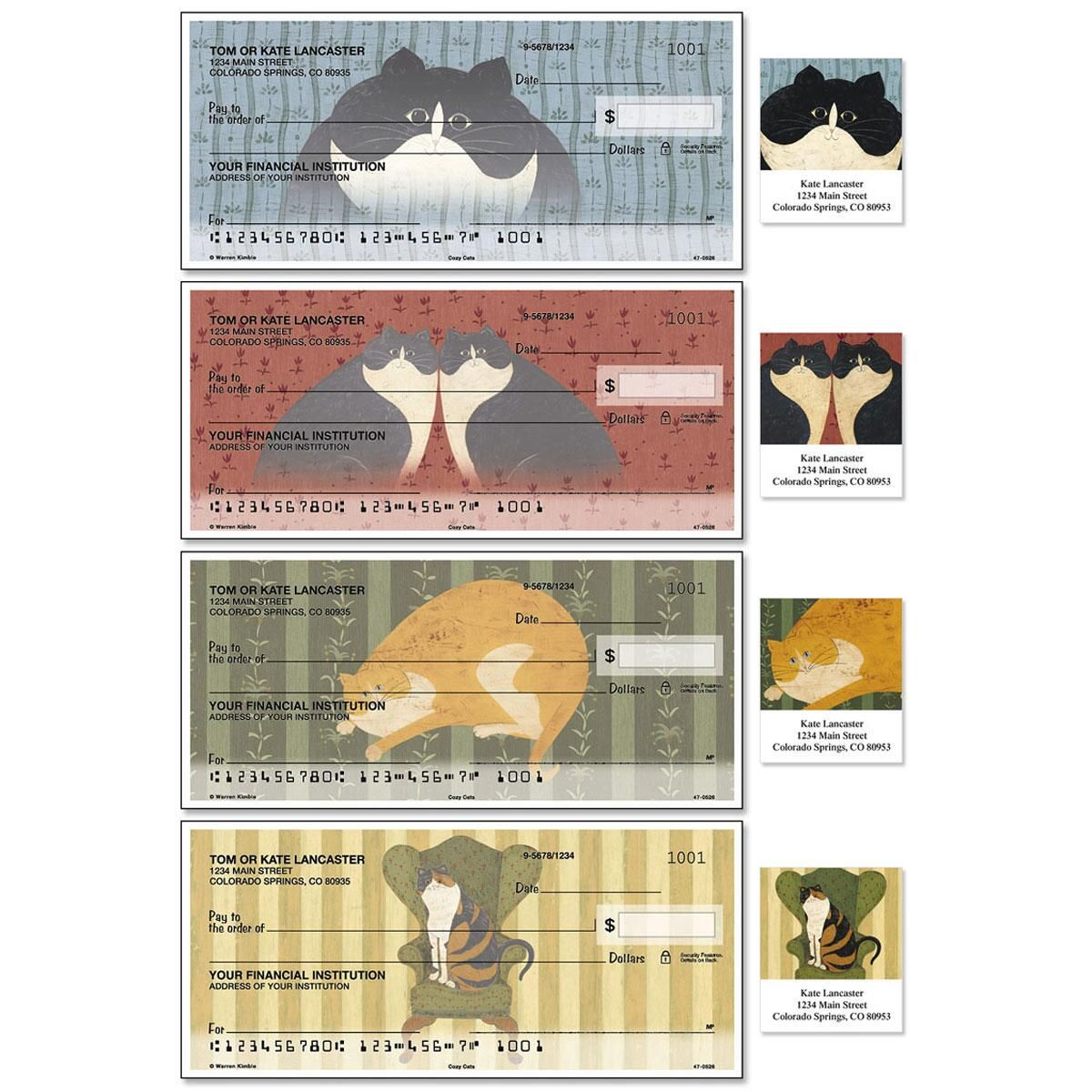Cozy Cats Single Checks With Matching Address Labels