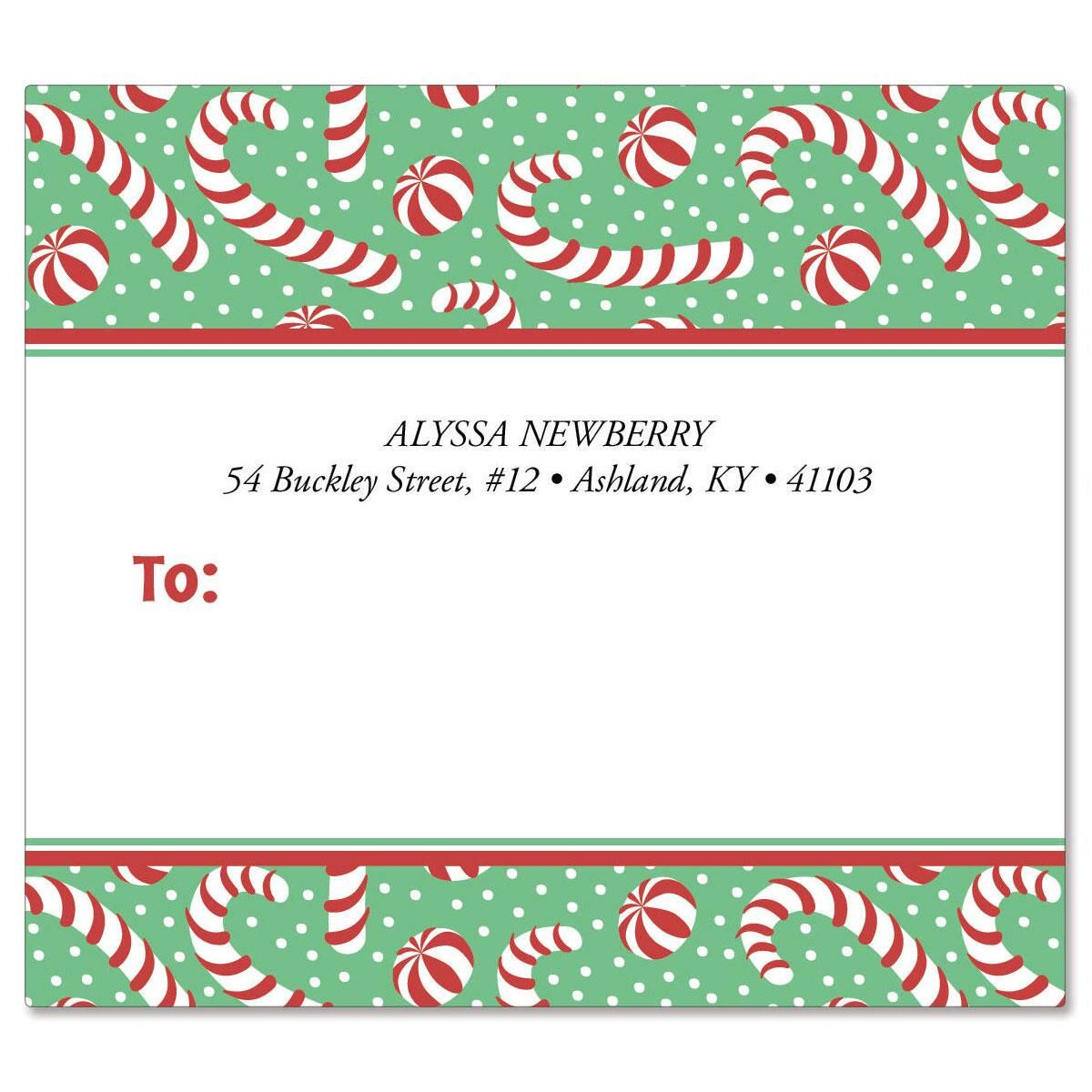 Jolly Candy Canes Mailing Package Label