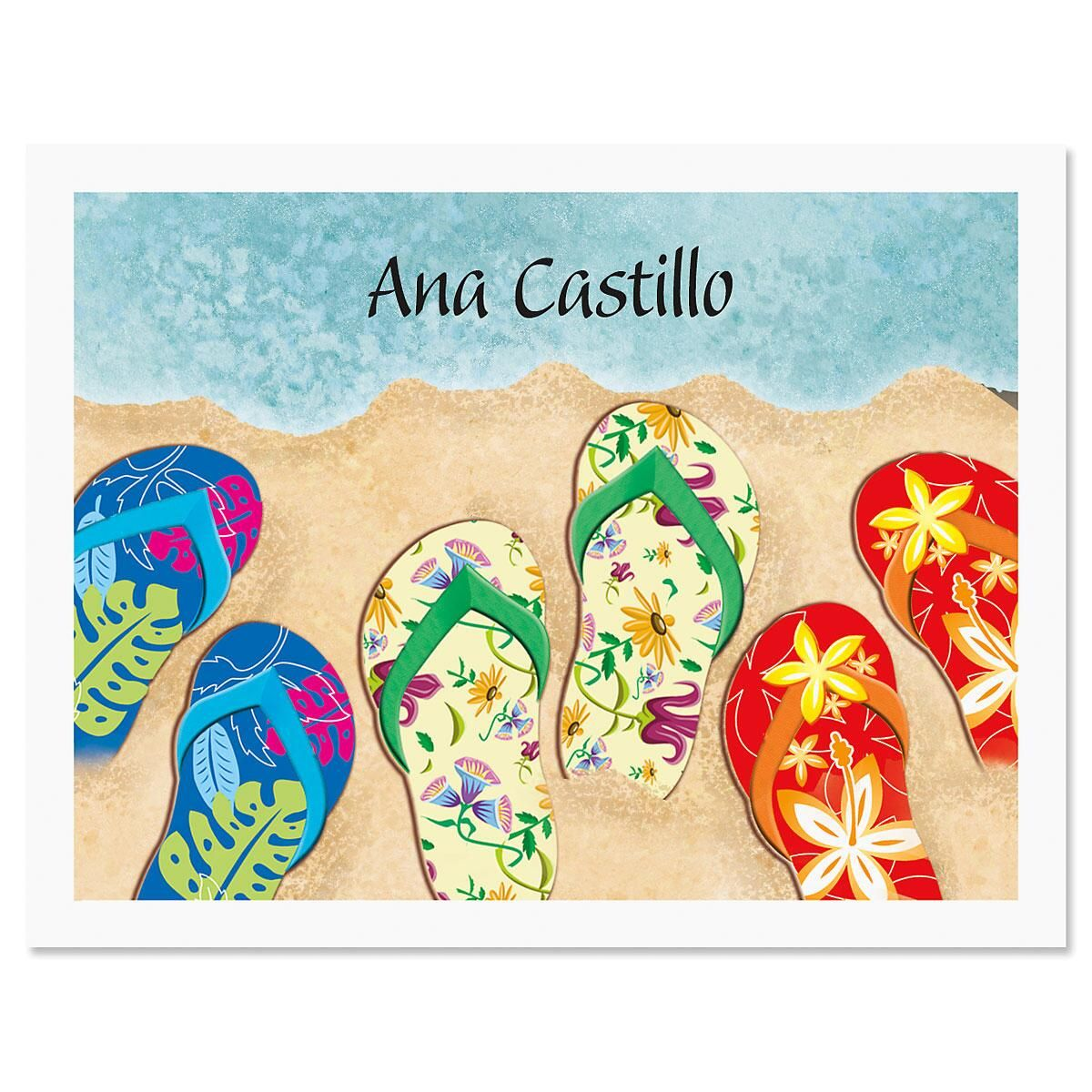 Baja Flip-Flops Personalized Note Cards