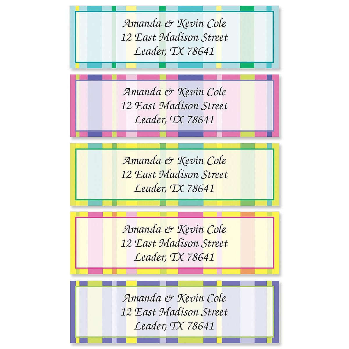 Graphic Stripes Rolled Address Labels  (5 Designs)