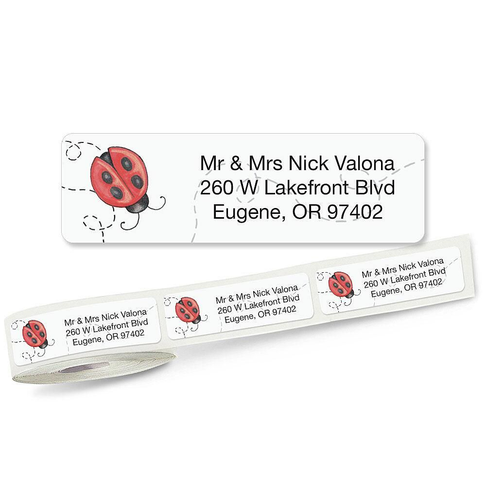 Ladybug Rolled Address Label