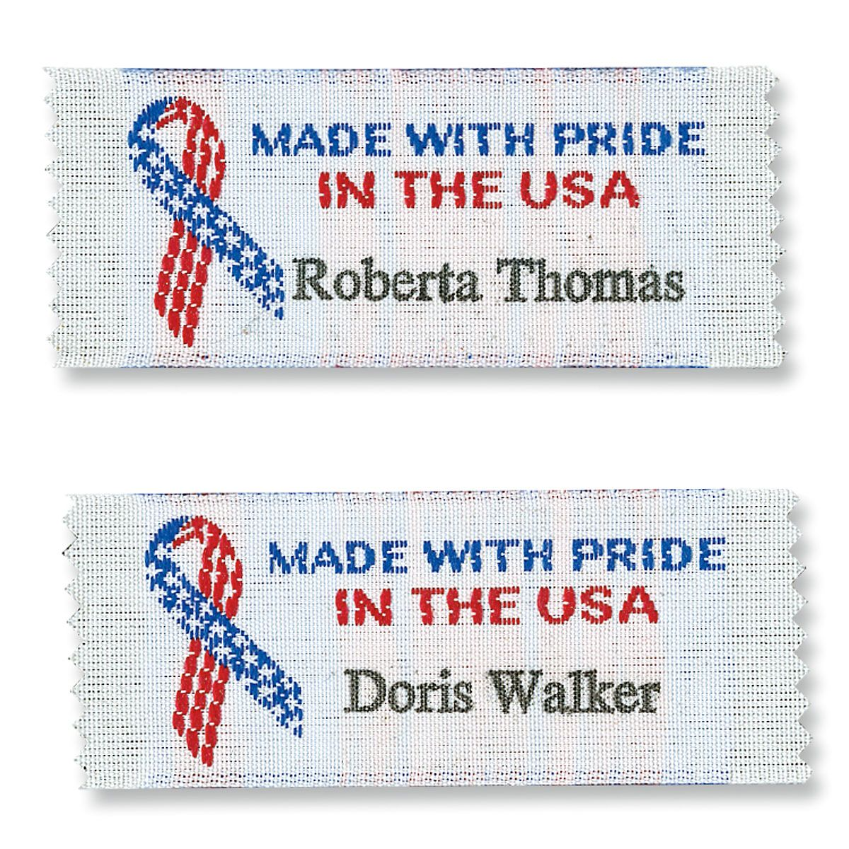 Made With Pride In The USA Sewing Labels Put a  signature  label on all your designs. Perfect for showing off your handiwork and avoiding lost clothing, colorfast 3/4  x 2 1/4 . 'Created by' personalized sewing labels are woven polyester, won't fray or fade, come in a set of 20, and are proudly made in the USA. Specify 1 line, up to 18 characters. Shipped directly from the manufacturer. Standard shipping only. Expedited shipping not available. Allow at least 4-6 weeks for delivery unless otherwise noted. Cannot be sent outside the 48 contiguous states, or to P.O. Box, APO/FPO, or foreign addresses.
