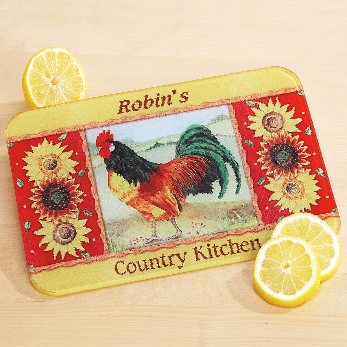 Country Kitchen Tempered Glass Cutting Board