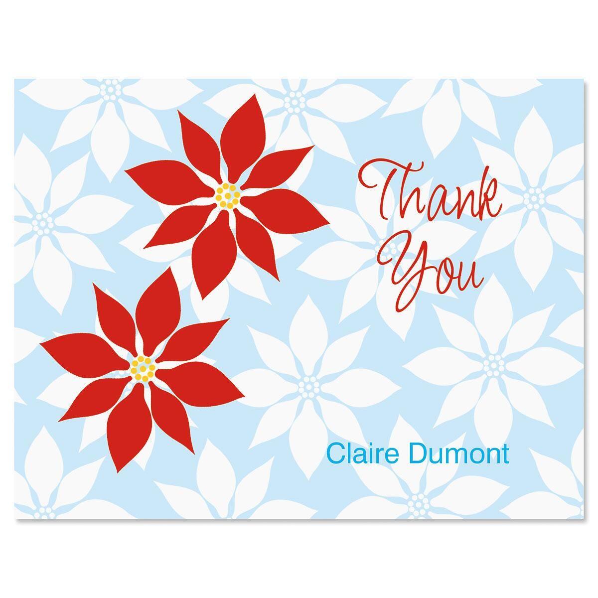 Poinsettia Custom Thank You Cards
