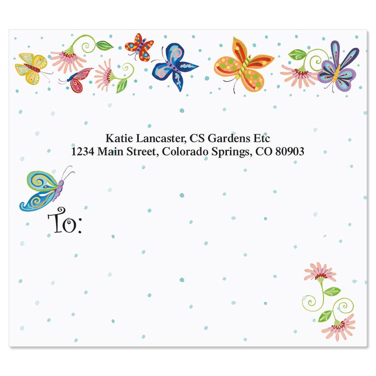 Floral Butterflies Mailing Package Label