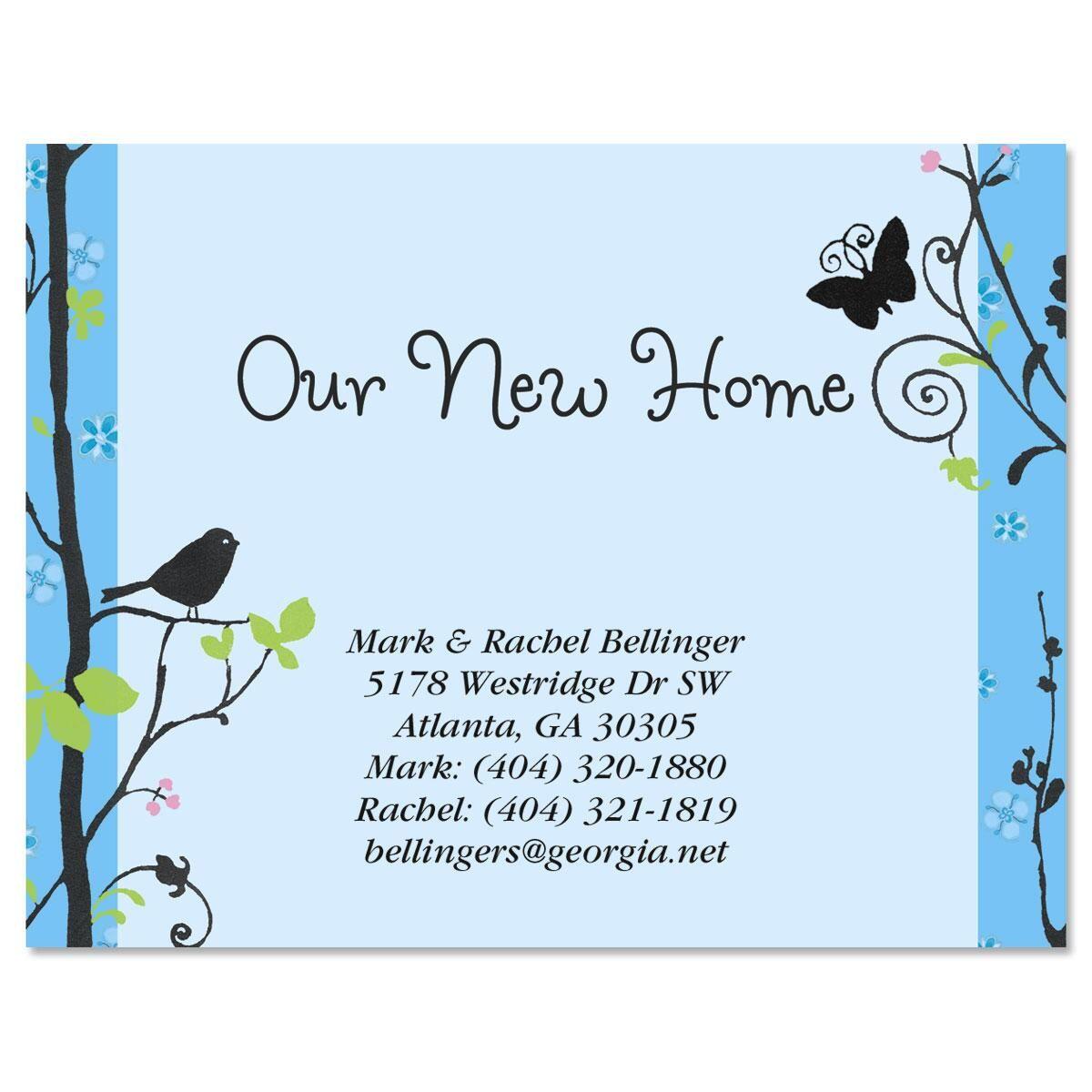 Songbird new address postcards current catalog for Custom new address cards