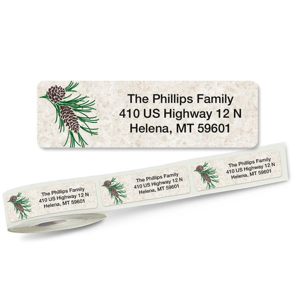 Pinecone Rolled Address Label