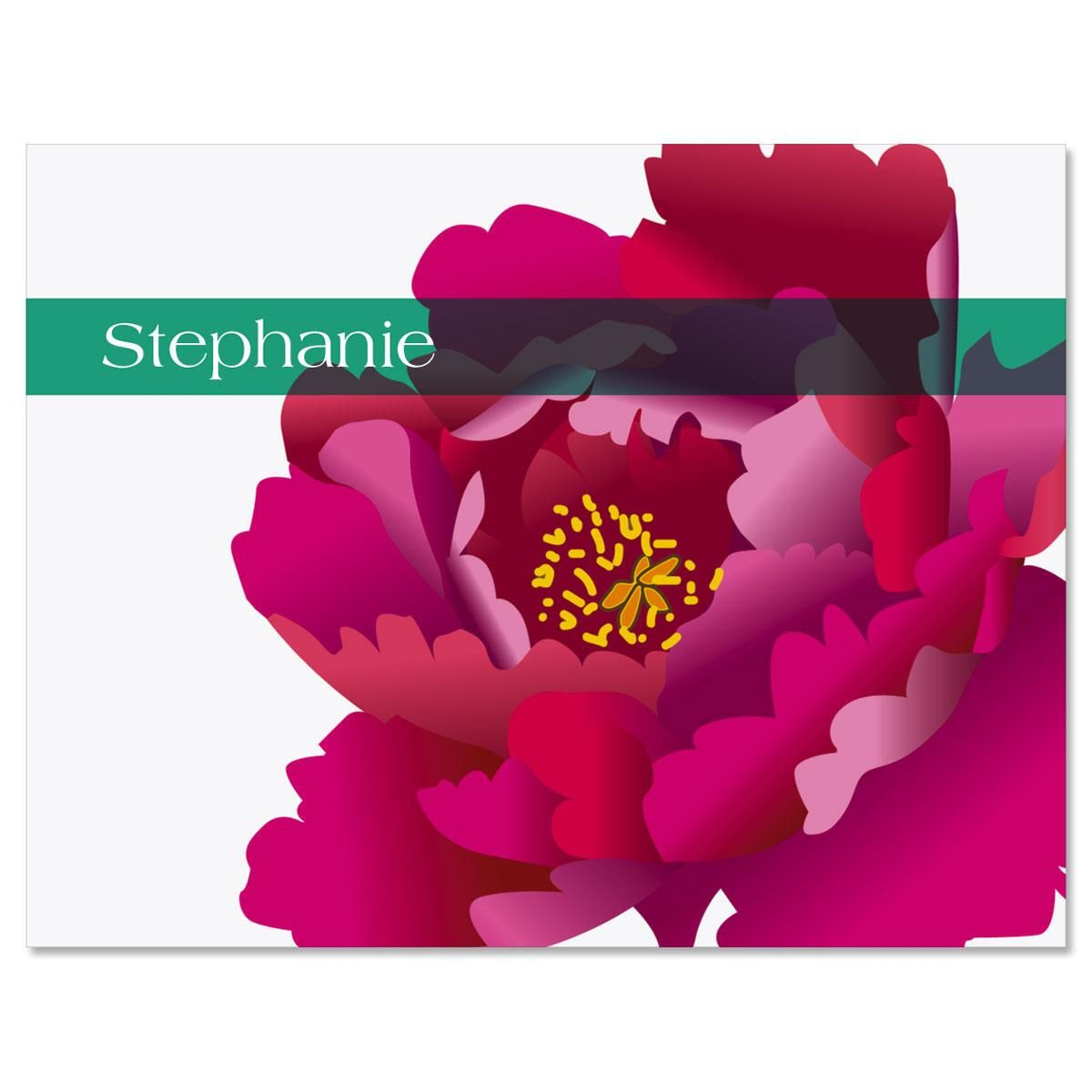 Pink and Red Peony Custom Note Cards