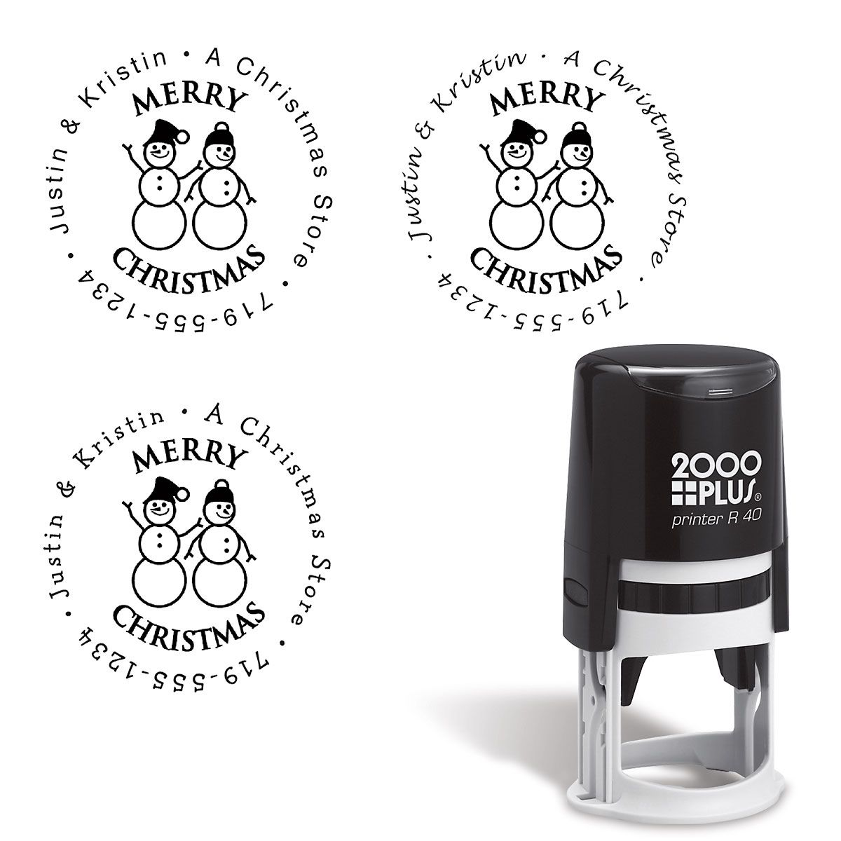 Snowman Family Round Self-Inking Address Stamp