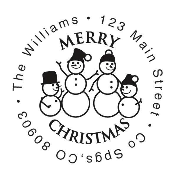Snowman Family Christmas Round Stampers-Snowman SnowWoman 2 Children-477871D