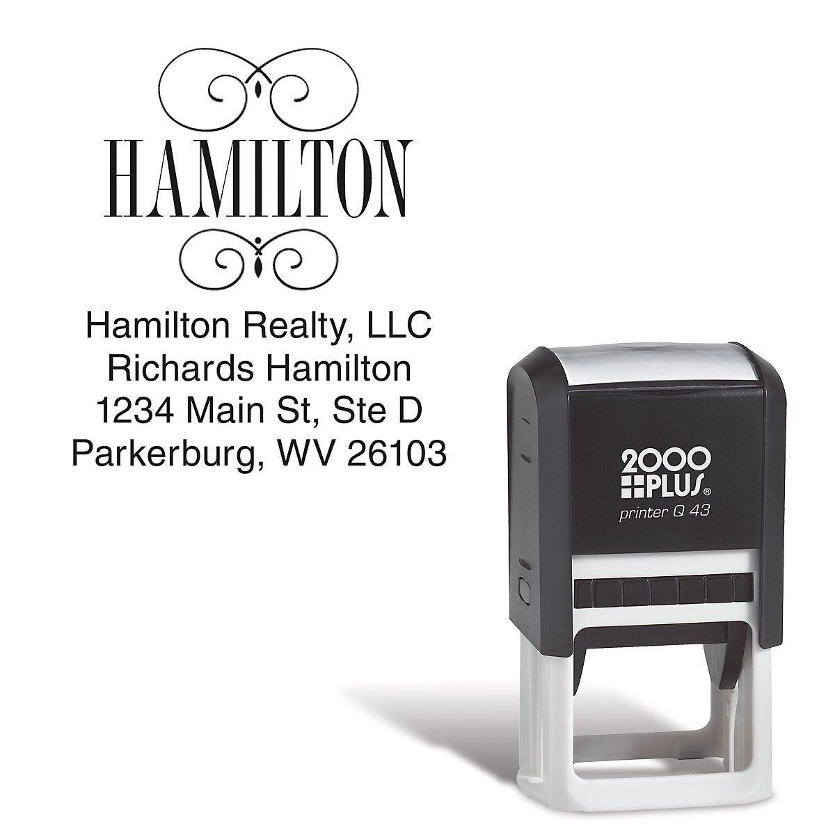 Square Name Self-Inking Address Stamp