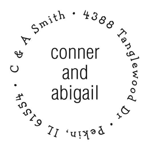 Wedding Couples Round Self-Inking Address Stamp