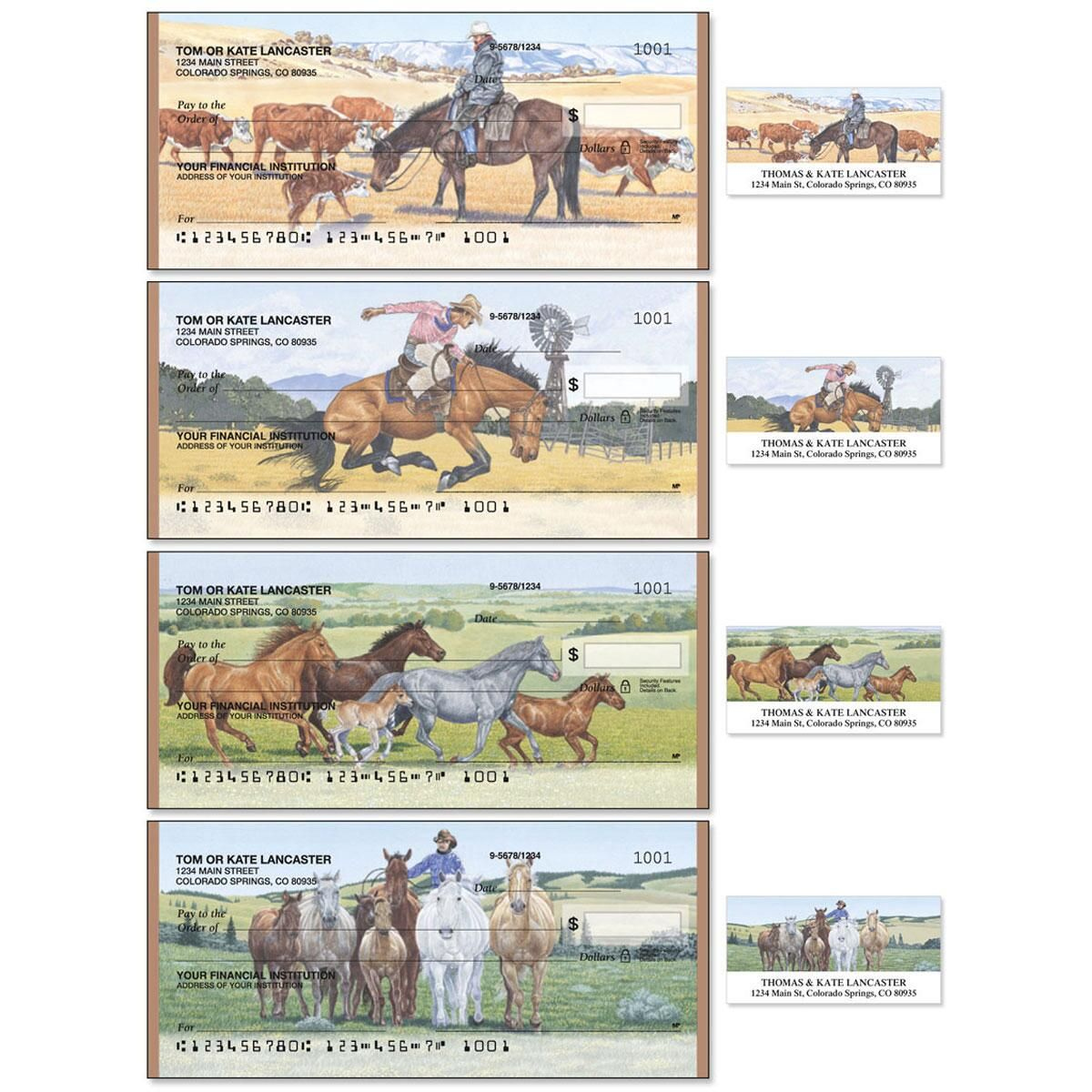 Cowboy Single Checks With Matching Address Labels