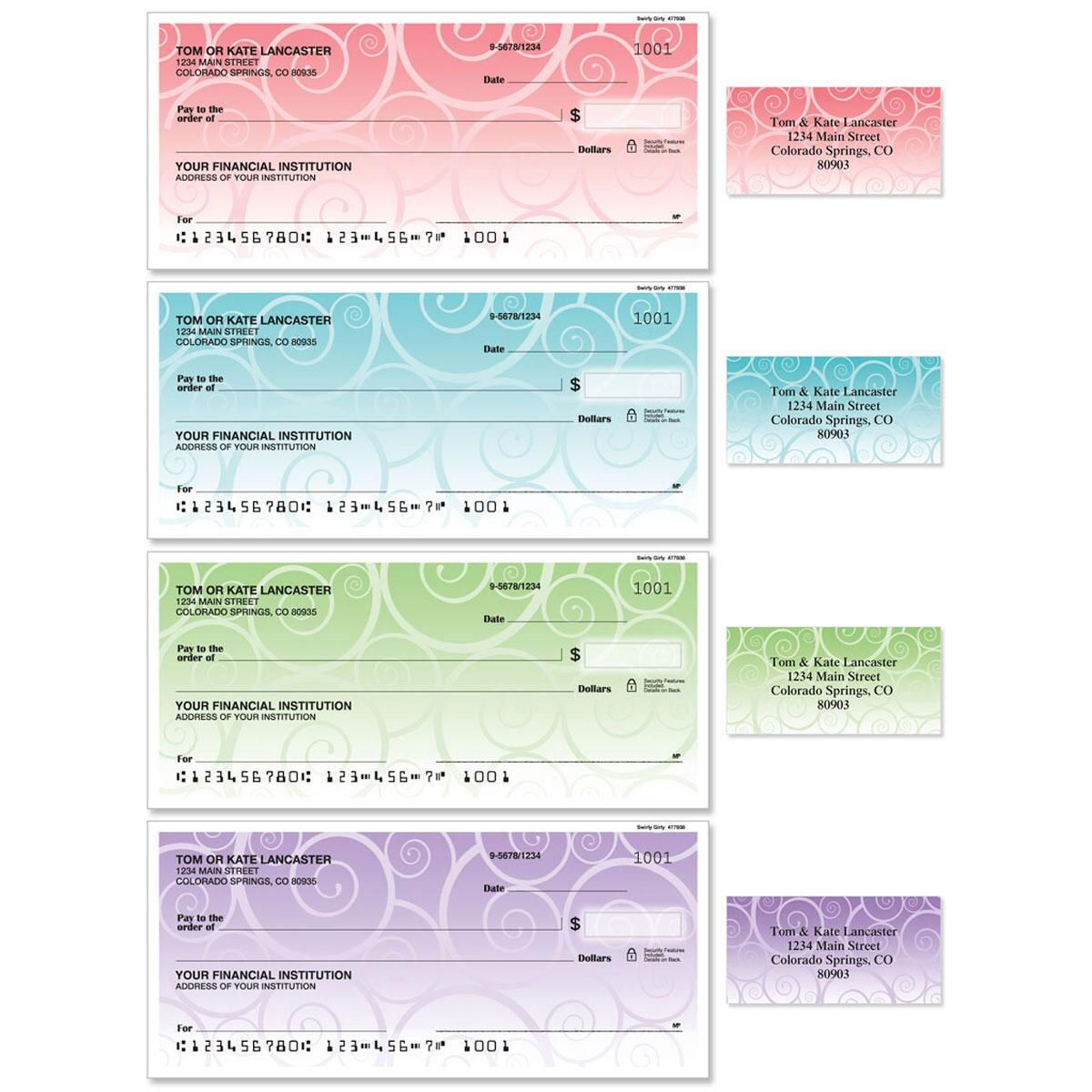 Swirly Girly Duplicate Checks With Matching Address Labels