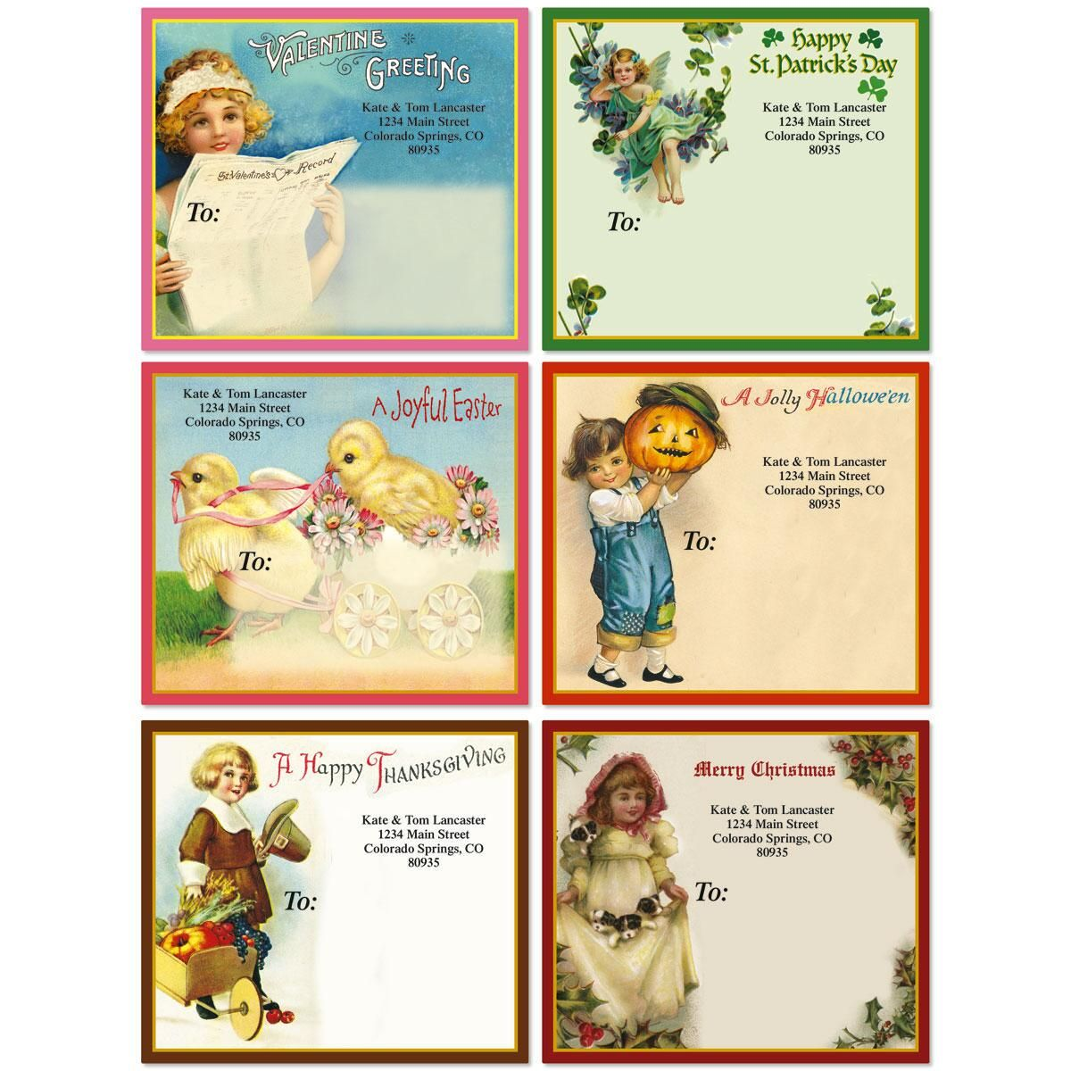 All Season Victorian Mailing Package Label  (6 Designs)