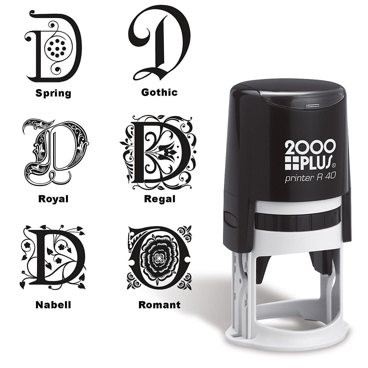 Center Monogram Round Self-Inking Address Stamp