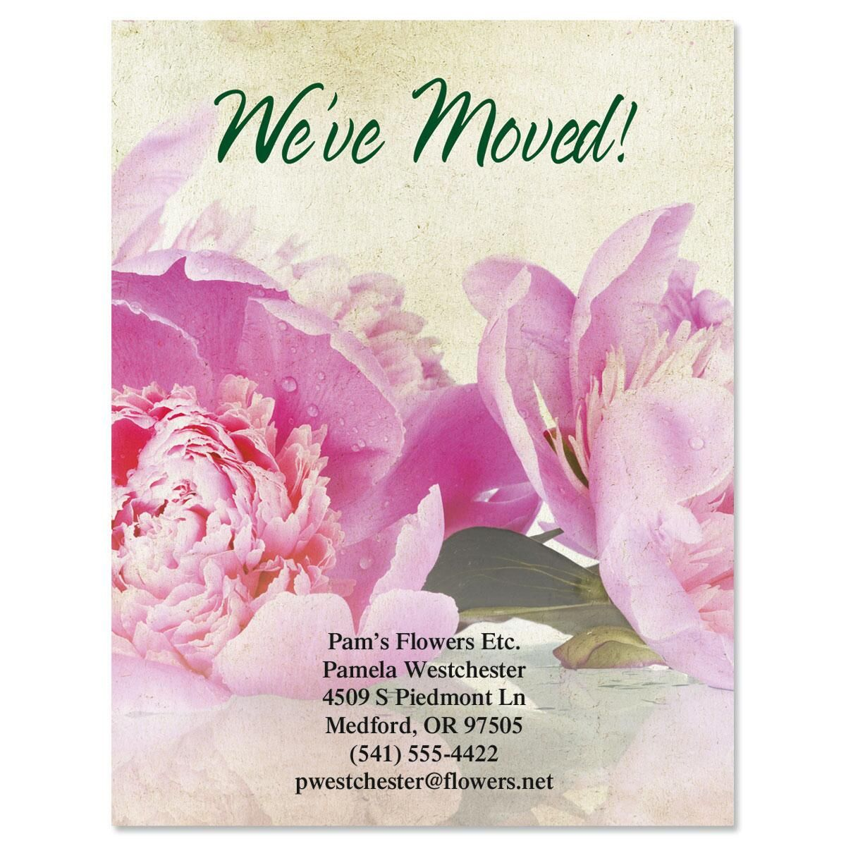 We've Moved Casual Peony Postcards