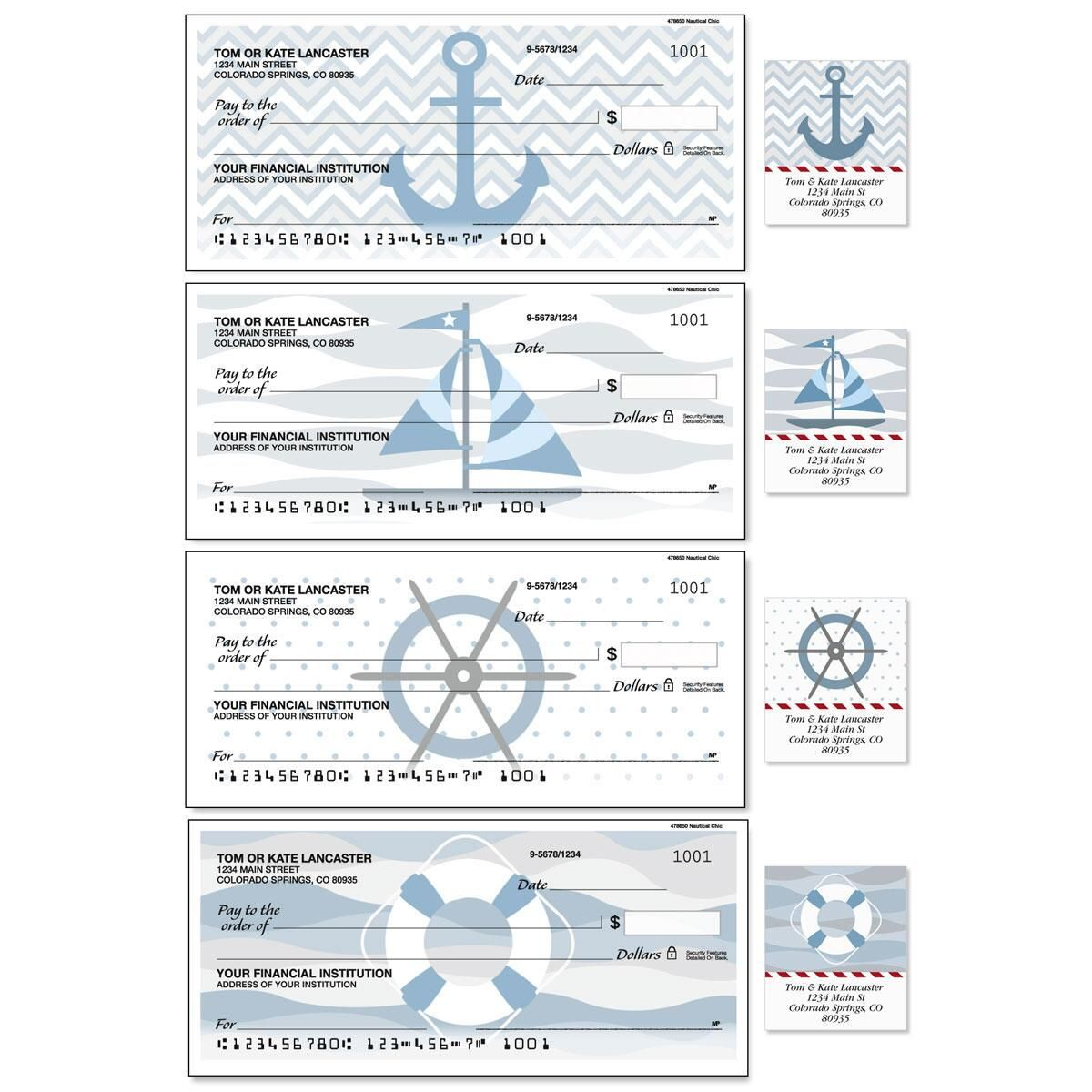 Nautical Chic Single Checks with Matching Address Labels