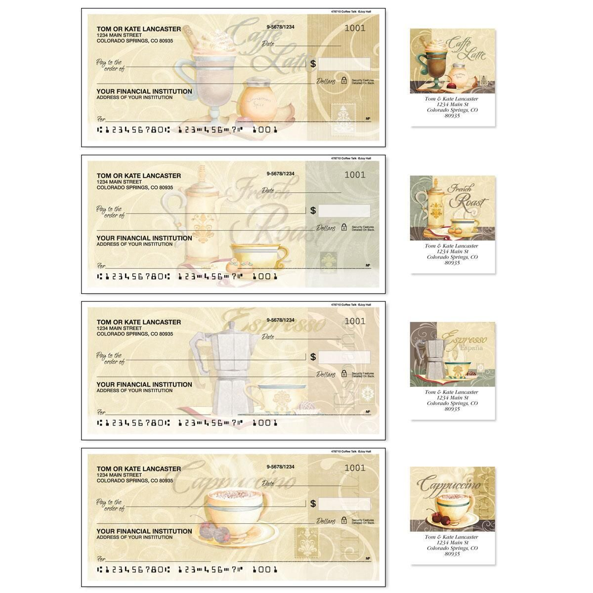 Coffee Talk Single Checks With Matching Address Labels