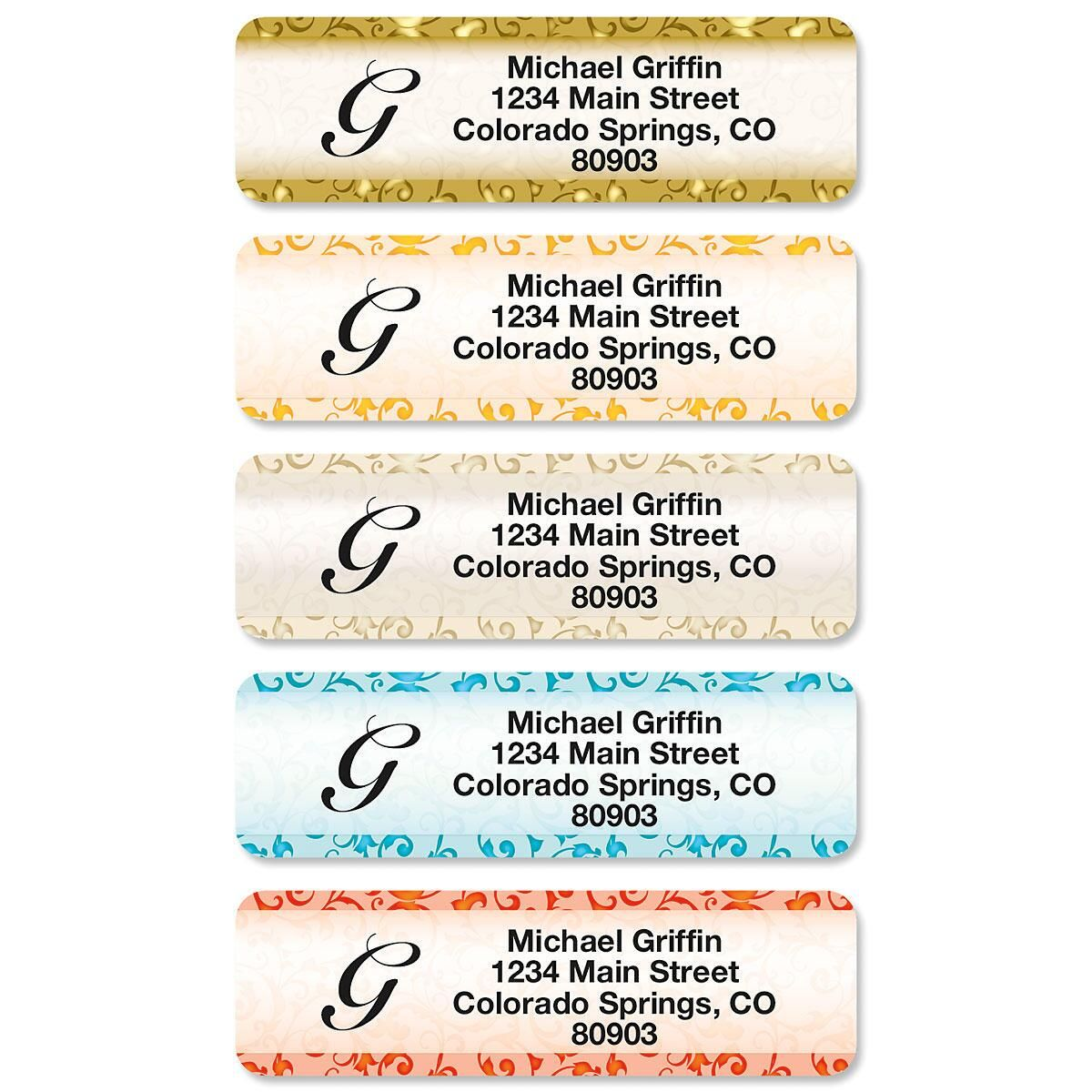 Stately Elegance Rolled Address Labels  (5 Designs)
