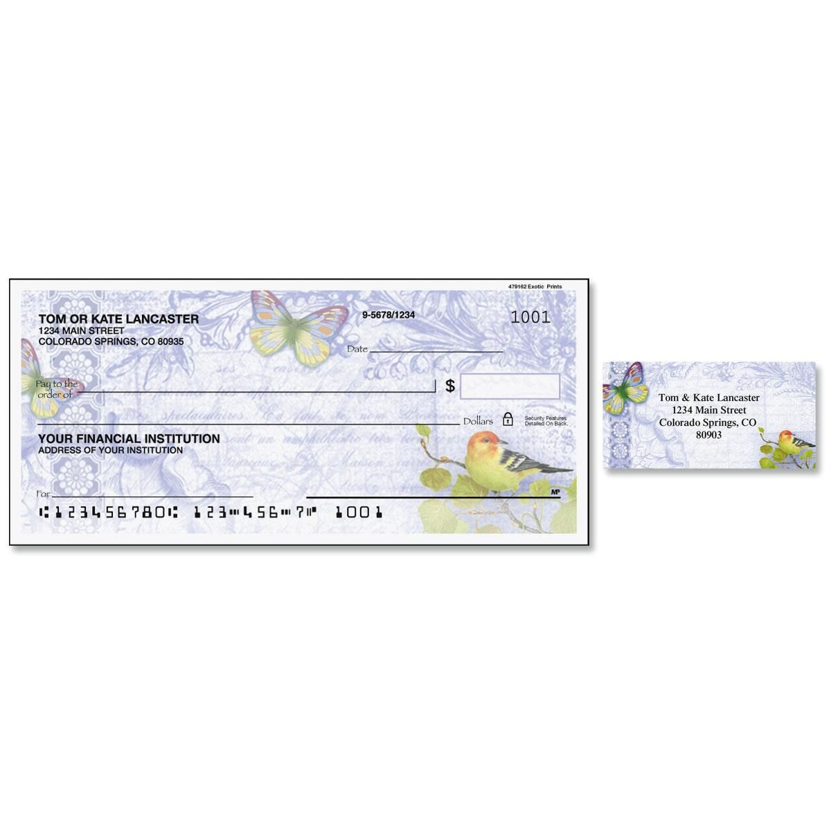Exotic Prints Single Checks with Matching Labels