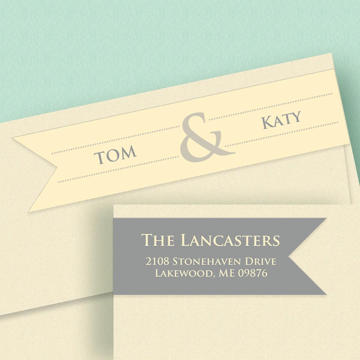 Modern Couple Connect Wrap Around Diecut Address Labels