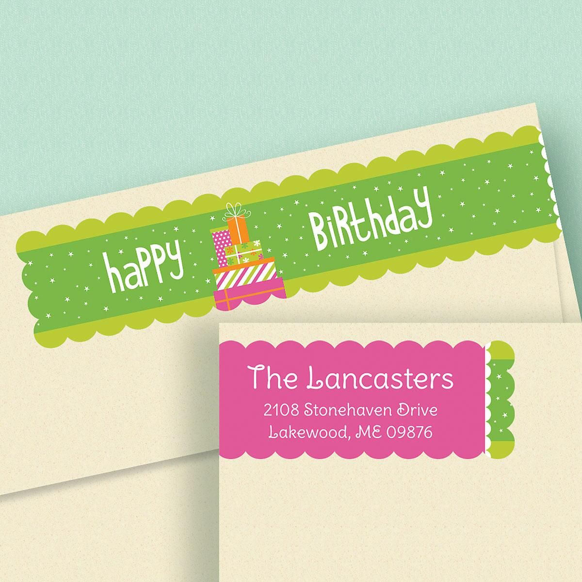 Happy Day Connect Wrap Around Diecut Address labels  (4 Designs)