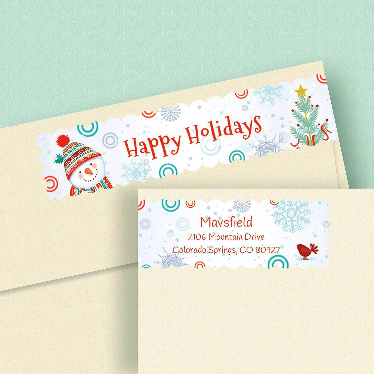 Snowman Connect Wrap Around Address Labels