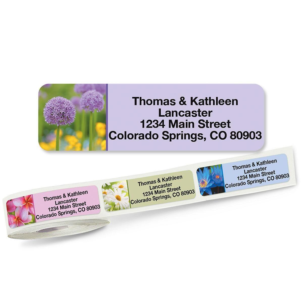Floral Fantasy Rolled Address Labels  (5 Designs)