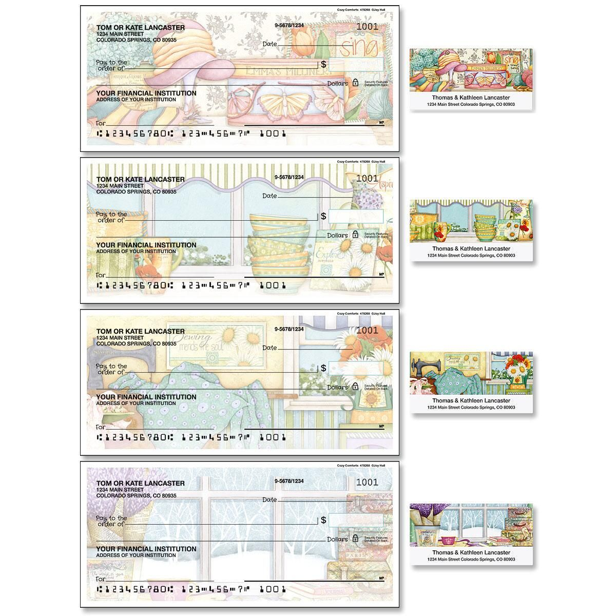 Cozy Comforts Single Checks with Matching Labels