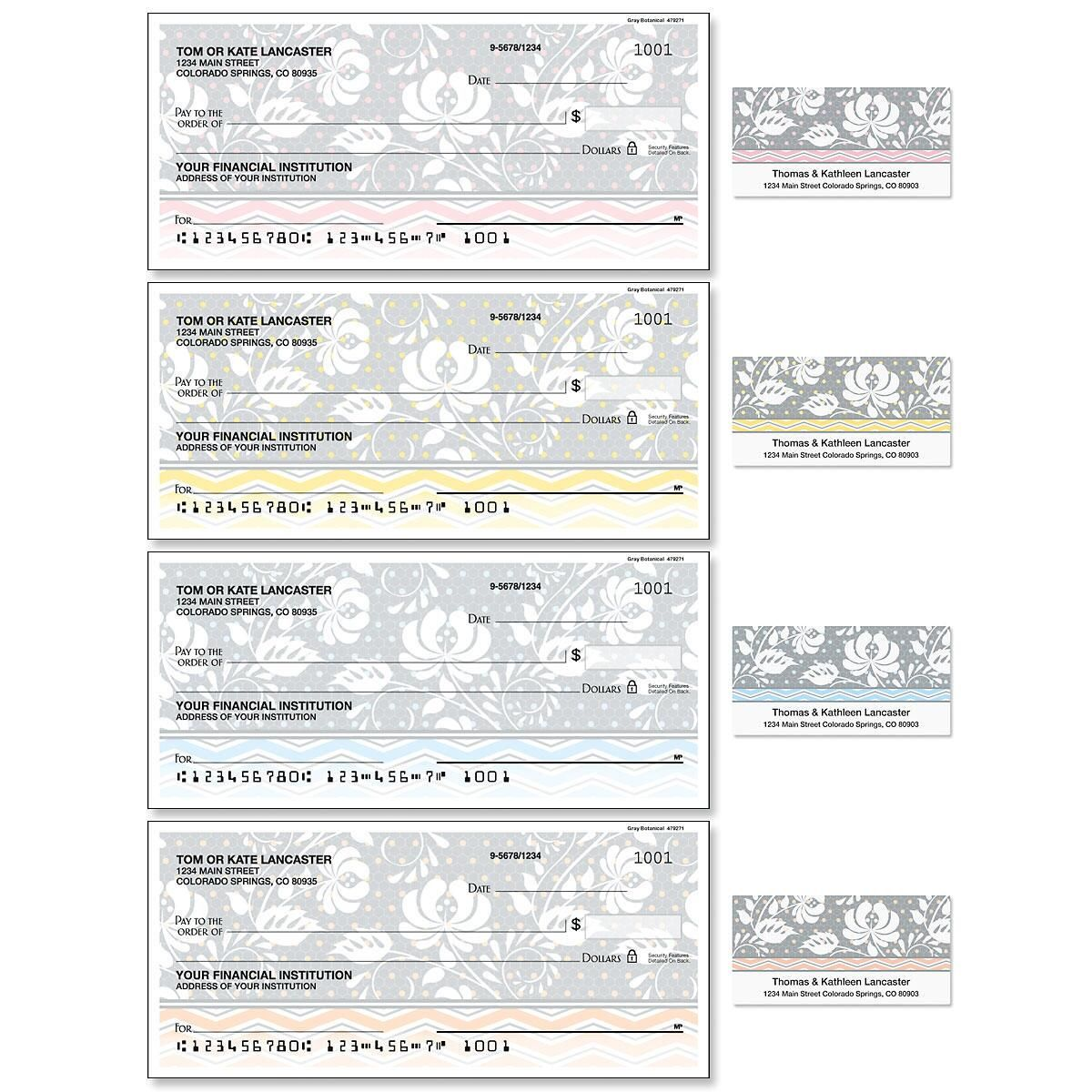 Gray Botanical Single Checks with Matching Labels