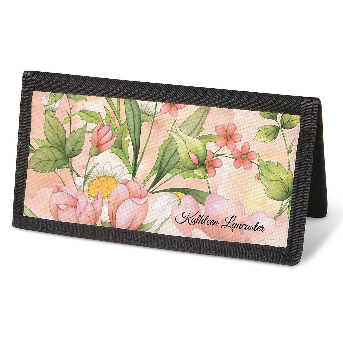 Watercolor Garden  Checkbook Cover - Personalized