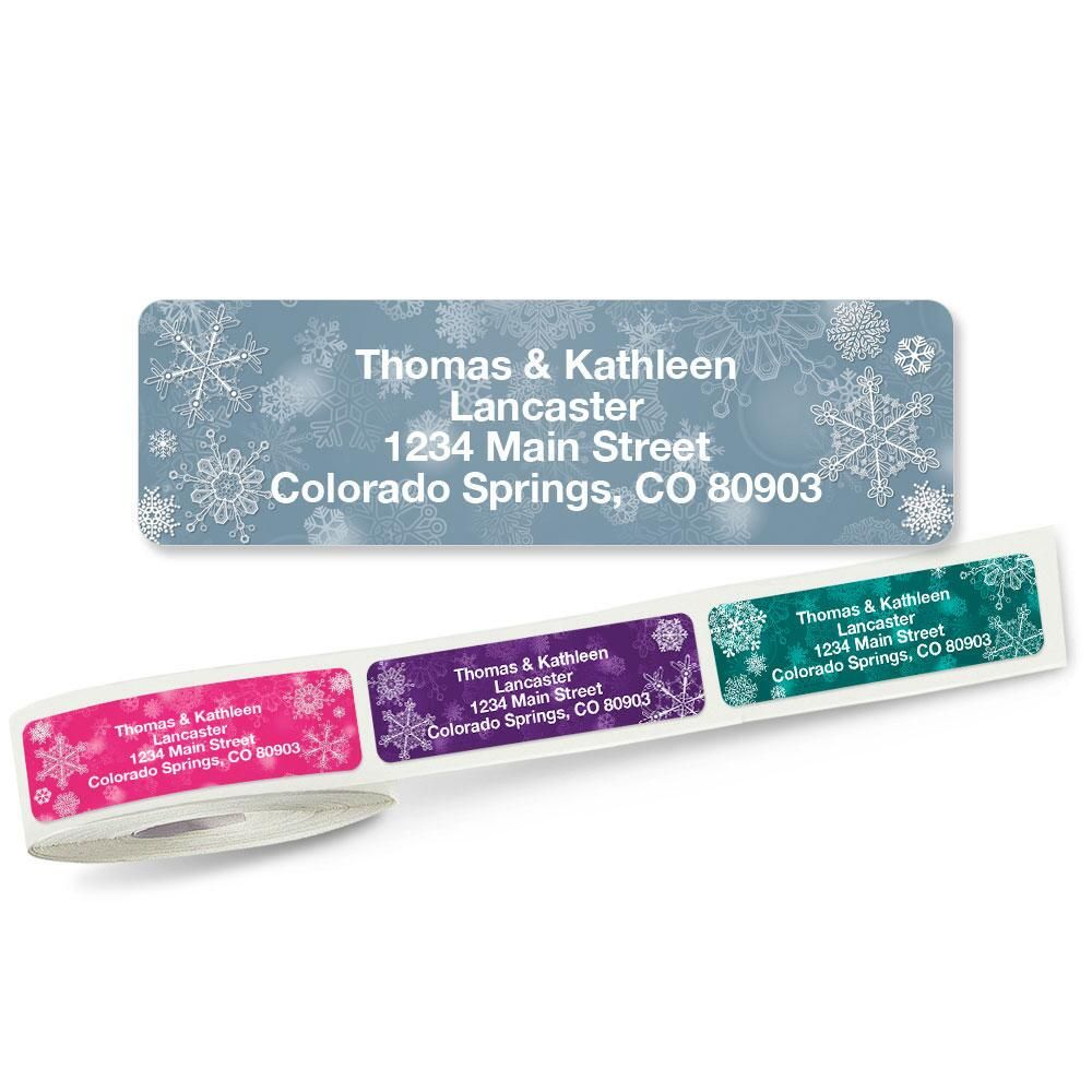 snowflakes rolled address labels  5 designs