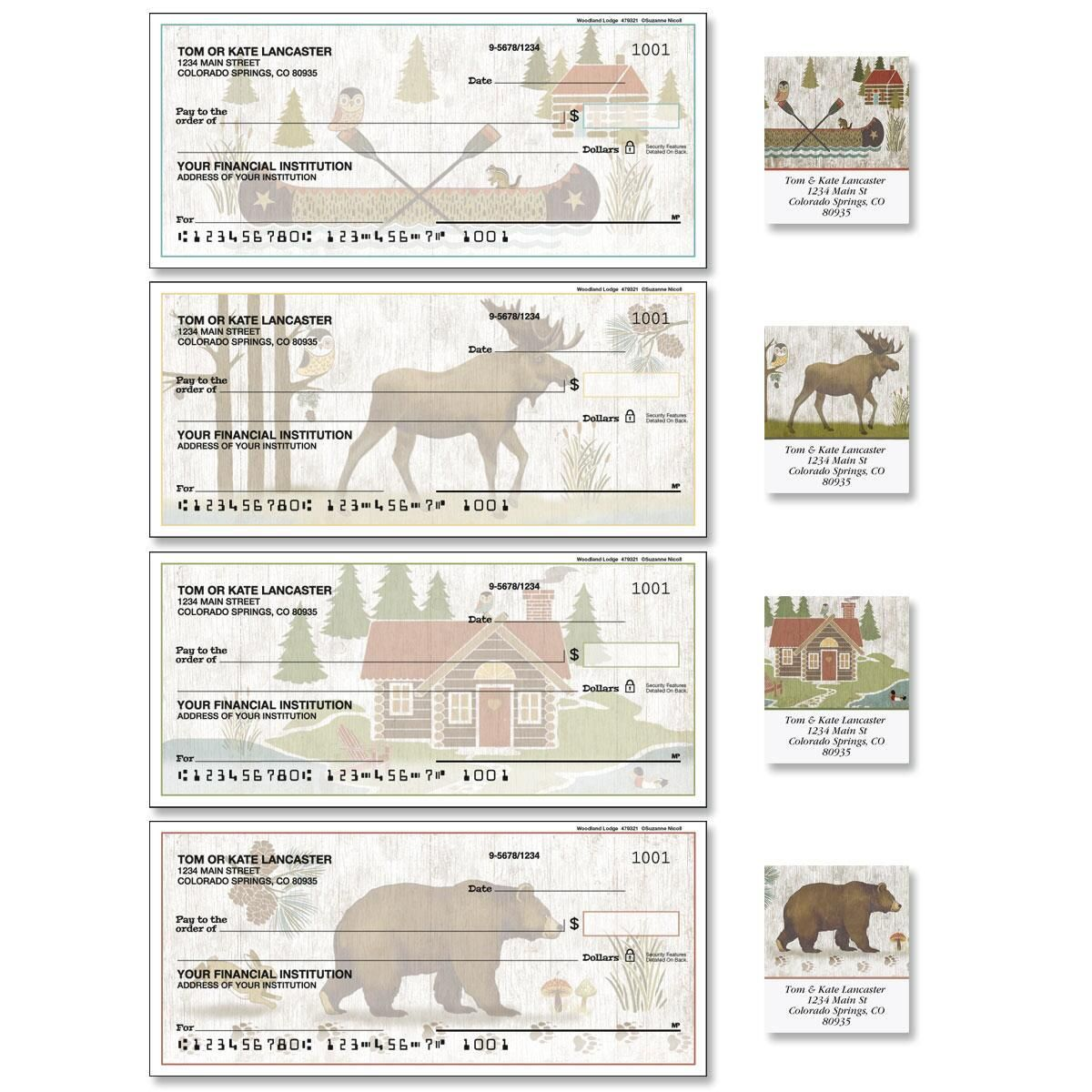 Woodland Lodge Single Checks with Matching Labels