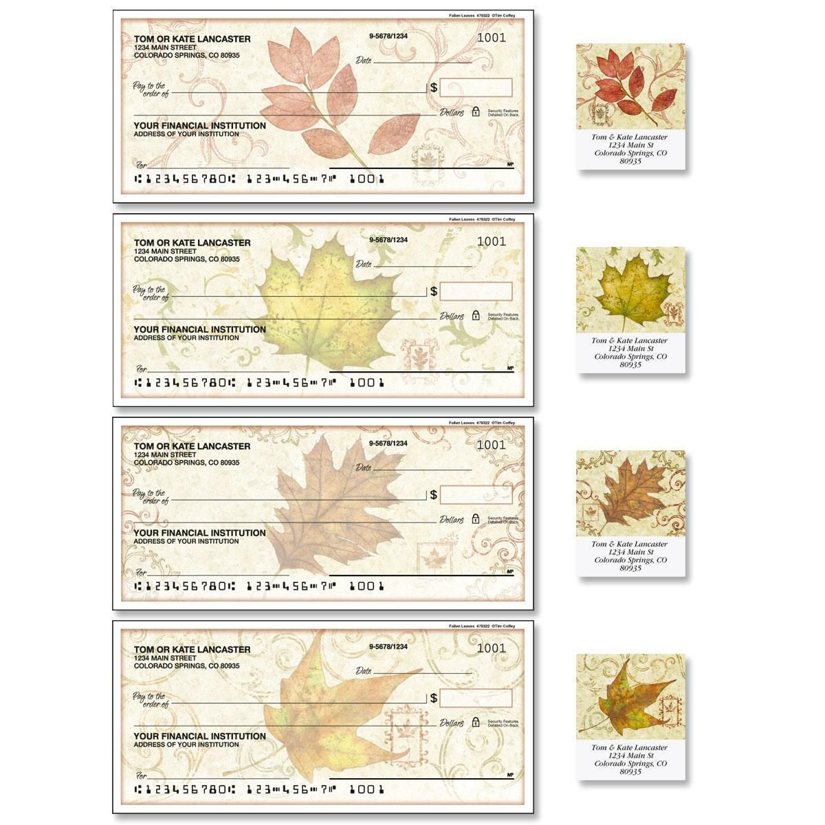 Fallen Leaves Single Checks with Matching Labels