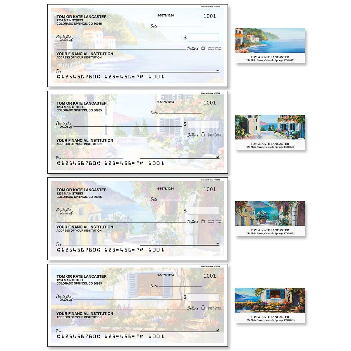 Seaside Retreat Single Checks with Matching Labels
