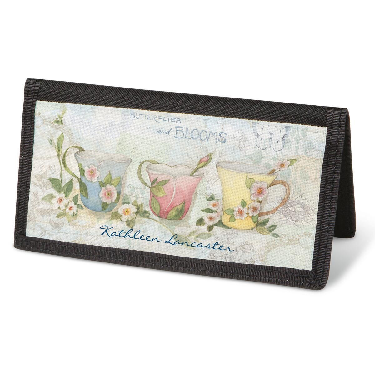 Teacups Checkbook Cover - Personalized