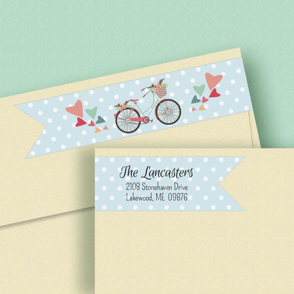 Bicycle Wrap Around Address Labels  (4 Designs)